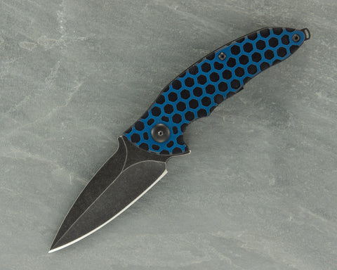 Brous Blades Custom Caliber Acid Stonewash Blade w/Blue and Black Honeycomb G10