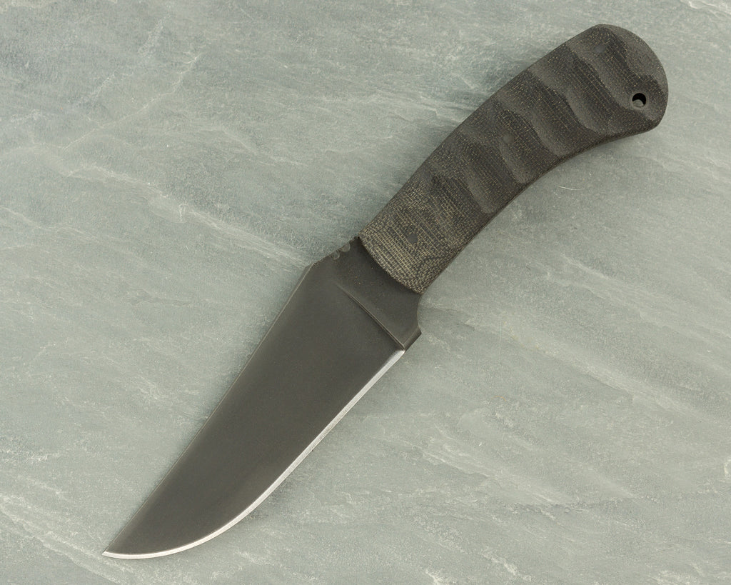 Winkler II Belt Knife with Sculpted Black Micarta Handle and Caswell Finish