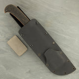 Winkler II Camp Knife with Black Rubber over Tan Micarta Handle w/Caswell Finish