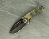 Medford Micro-Praetorian T with Dark Mottled Flame and G10 Digi Camo Handle and D2 Black Blade