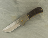 Doc Shiffer Custom Recon w/Hamon Blade, Damascus Bolster, Marble Carbon Fiber & Gold Jeweling