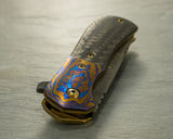 "Doc Shiffer Custom 3"" Recon - Bolstered Hyperdrive Timascus, Carbon Fiber, Gold orange peel Ti"