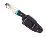 Half Face Blades - Crow Scout Junior w/Elk bottom, Burlwood & Turquoise Split