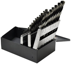 "KnKut 29pc Fractional Jobber Length Drill Bit Set 1/16""-1/2"" by 64ths with 3/8"" Reduced Shank"