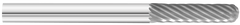 "KnKut SC-42 Cylindrical Ball Nose Carbide Burr 1/8"" x 9/16"" x 1-1/2"" OAL with 1/8"" Shank"