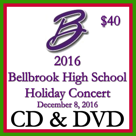 2016 Bellbrook High School Holiday Concert CD and DVD 2-Disk Set