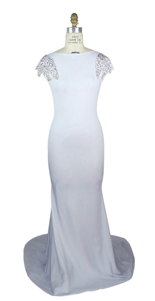 White Fishtail Mermaid Art Deco Gown