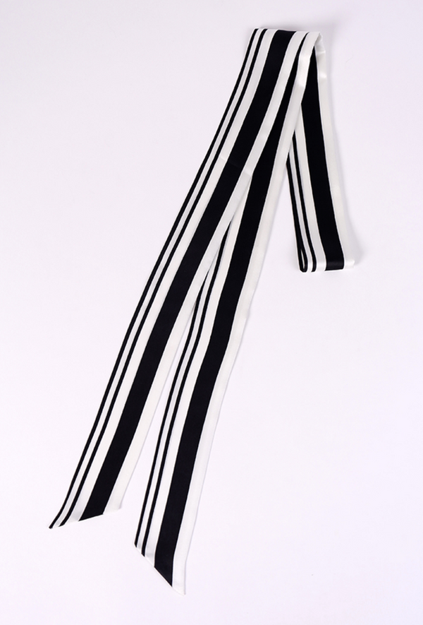 100% Double Face Silk Art Deco Stripe Vintage Style Belt Sash - Black & White - The Deco Haus