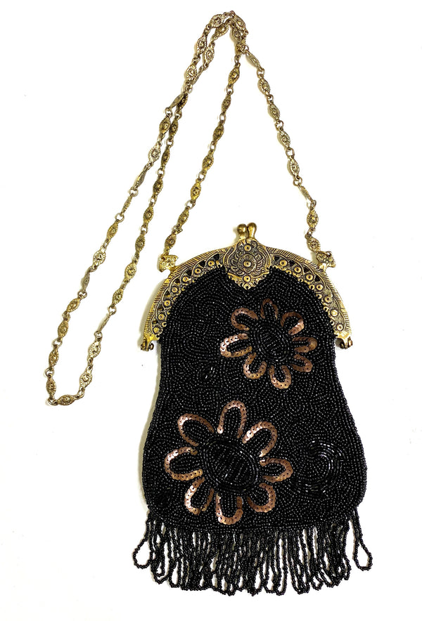 1920's Antique Deco Inspired Gatsby Beaded Evening Bag - Black Cocoa