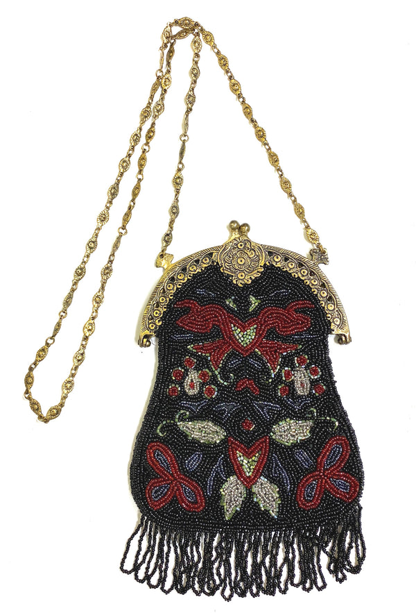 1920's Antique Deco Inspired Gatsby Beaded Evening Bag - Black Floral