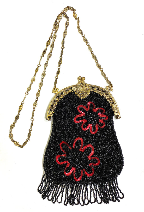1920's Antique Deco Inspired Gatsby Beaded Evening Bag - Black Red