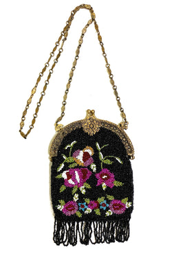 1920's Antique Deco Inspired Gatsby Beaded Evening Bag - Black Rose