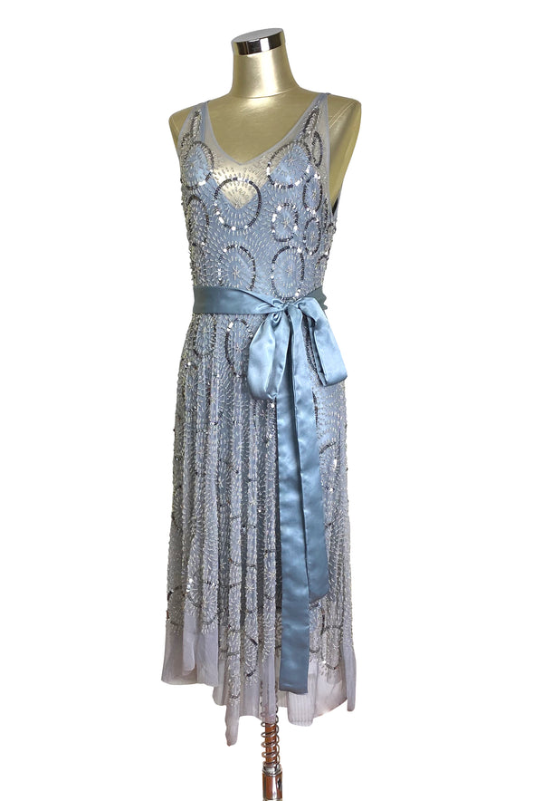 1920's Beaded Handkerchief Gatsby Dress - The Deco Dot - Silver
