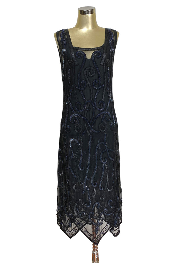 1920's Beaded Handkerchief Gatsby Hip Petal Dress - The Nouvelle - Black Aurora