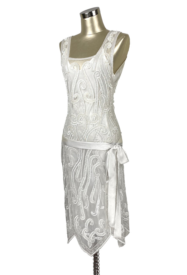 1920's Beaded Handkerchief Gatsby Hip Sash Dress - The Nouvelle - Crystalline White