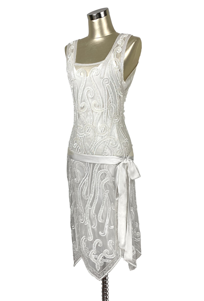 1920's Beaded Handkerchief Gatsby Hip Sash Dress - The Nouvelle - Crystalline White - The Deco Haus