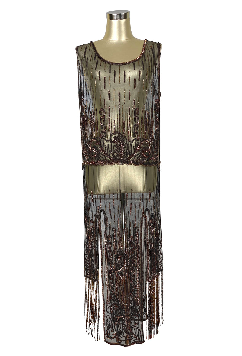 1920's Beaded Vintage Deco Tabard Fringe Panel Gown - The Epiphany - Black Copper - The Deco Haus