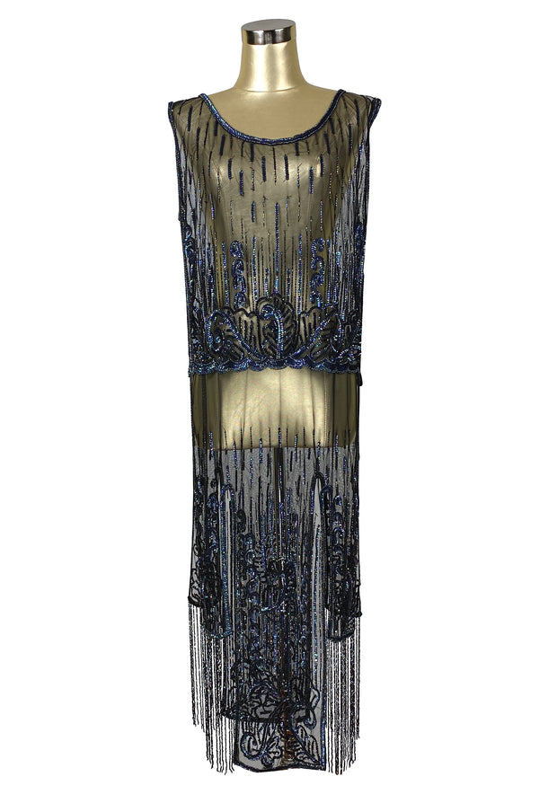 1920's Beaded Vintage Deco Tabard Fringe Panel Gown - The Epiphany - Black Iridescent - The Deco Haus