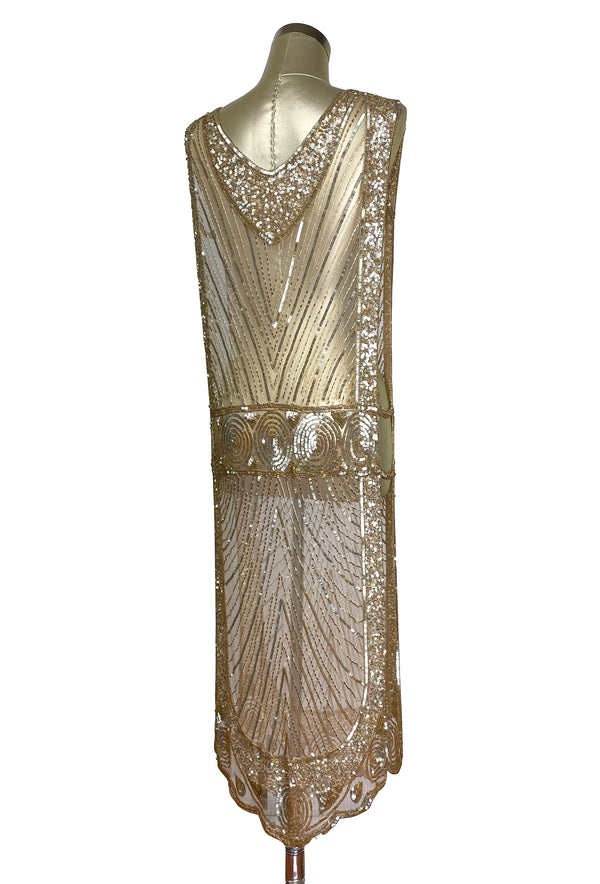 1920's Beaded Vintage Deco Tabard Panel Gown - The Modernist - Gold