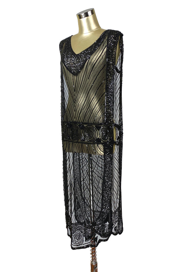 1920's Beaded Vintage Deco Tabard Panel Gown - The Modernist - Kohl Black - The Deco Haus