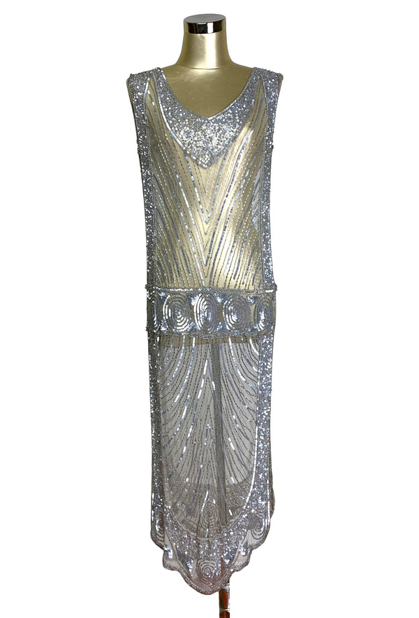 1920's Beaded Vintage Deco Tabard Panel Gown - The Modernist - Silver
