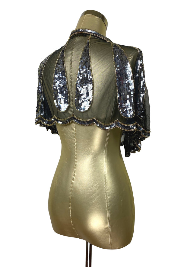 1920's Beaded Vintage Glamour Capelet - The Harlow - Soiree Black