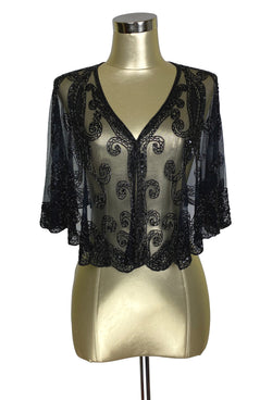 1920's Beaded Vintage Glamour Shawl Capelet - The Claudette - Black Jet