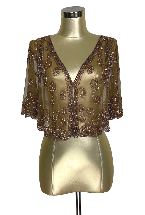1920's Beaded Vintage Glamour Shawl Capelet - The Claudette - Copper Brown