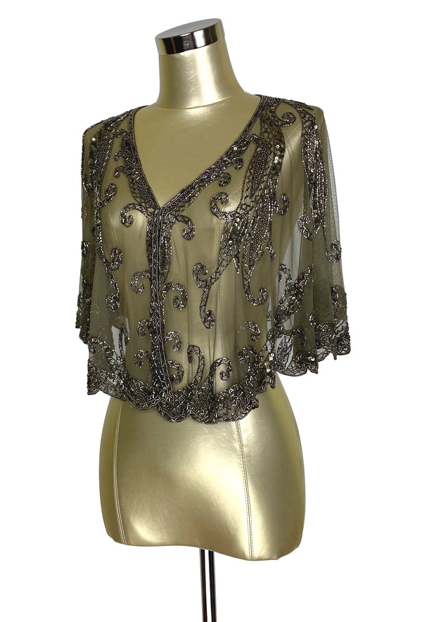 1920's Beaded Vintage Glamour Shawl Capelet - The Claudette - Pewter Brown