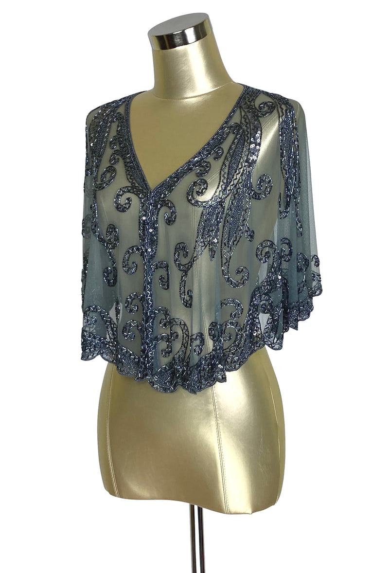 1920's Beaded Vintage Glamour Wedding Capelet - The Claudette - Sterling Grey