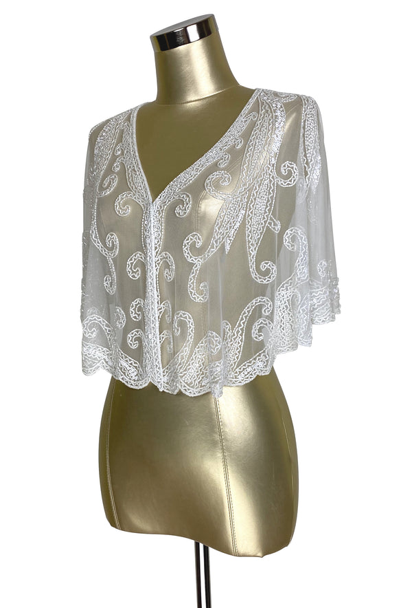 1920's Beaded Vintage Glamour Wedding Capelet - The Claudette - White