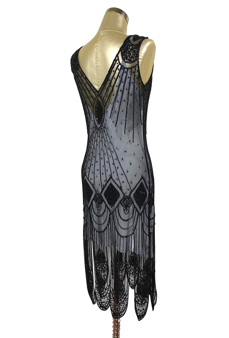 1920's Flapper Carwash Hem Beaded Party Dress - The Starlet - Midi - Black