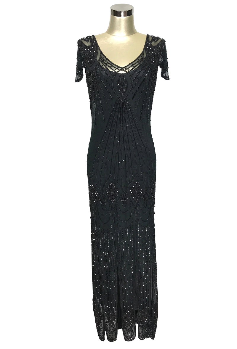1920's Gatsby Flutter Sleeve Beaded Party Dress - The Starlet - Full-Length - Black Pearl - The Deco Haus