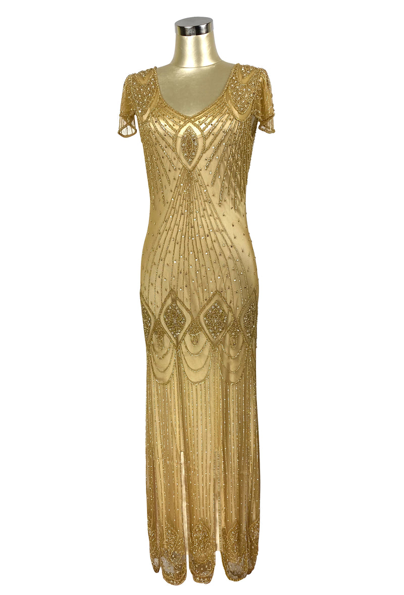 1920's Gatsby Flutter Sleeve Beaded Party Dress - The Starlet - Full-Length - Butterscotch Gold - The Deco Haus