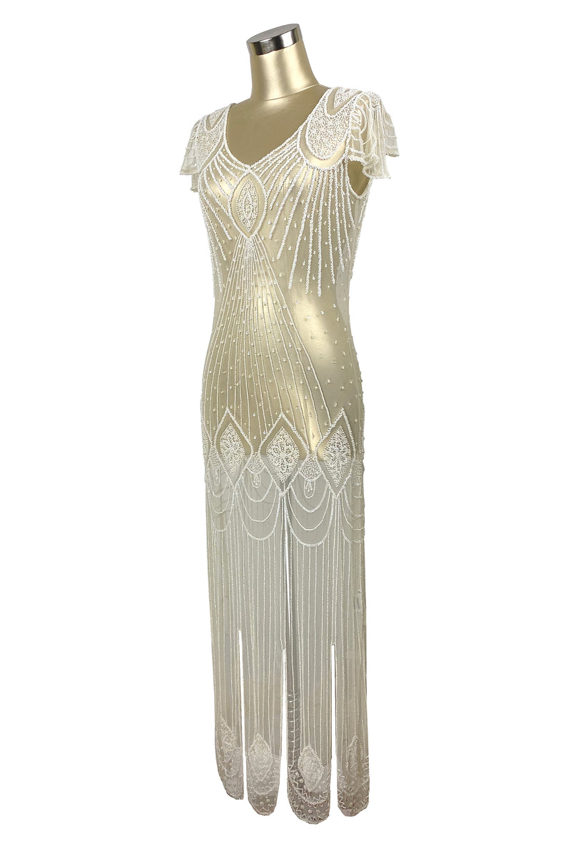1920's Gatsby Flutter Sleeve Beaded Party Dress - The Starlet - Full-Length - Cream Crystal - The Deco Haus