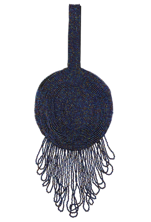 1920's Hand Beaded Deco Pinwheel Fringe Wristlet Evening Purse - Midnight Blue Aurora - The Deco Haus