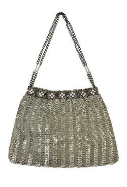 1920's Inspired Gatsby Beaded Rhinestone Crochet Evening Purse - Platinum Silver