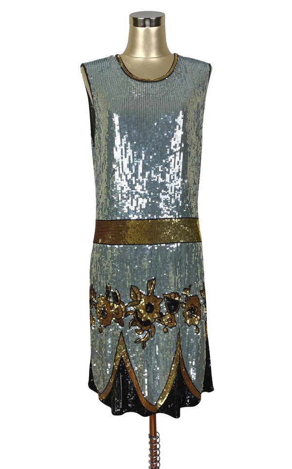 Limited Edition 1920's Luxury Vintage Gatsby Sequin Cocktail Dress - The Grand Duchess - Midnight Blue