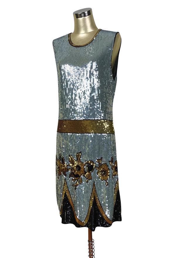 Limited Edition 1920's Luxury Vintage Gatsby Sequin Cocktail Dress - The Grand Duchess - Silver