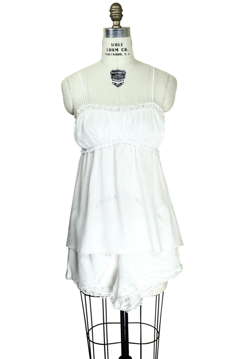 1920's Style 100% Silk Crepe Pajama Set - Ivory - The Deco Haus