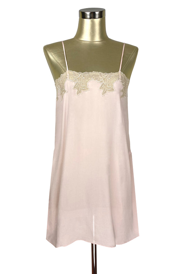 1920's Style 100% Silk Hand-Cut Lace Luxury Slip Dress - Champagne Pink