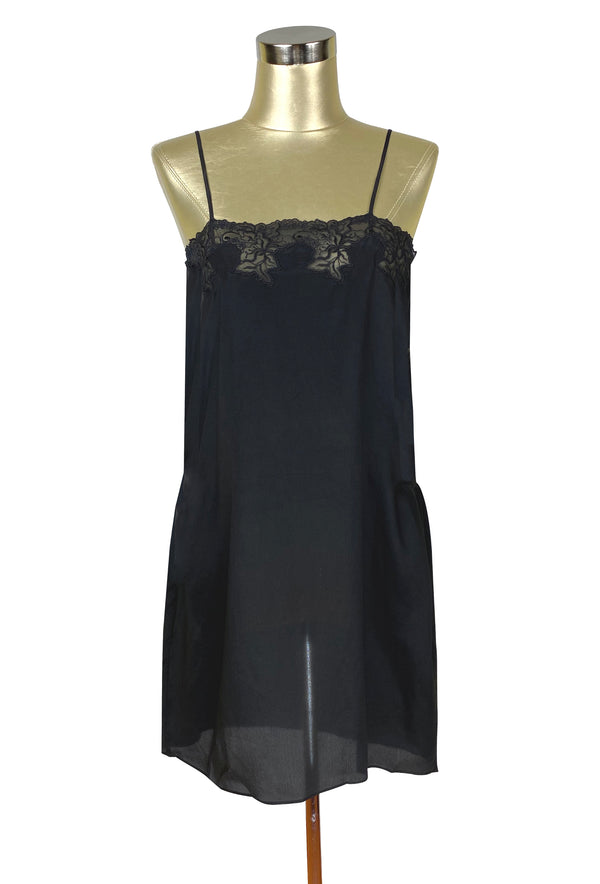 1920's Style 100% Silk Hand-Cut Lace Luxury Slip Dress - Licorice Black