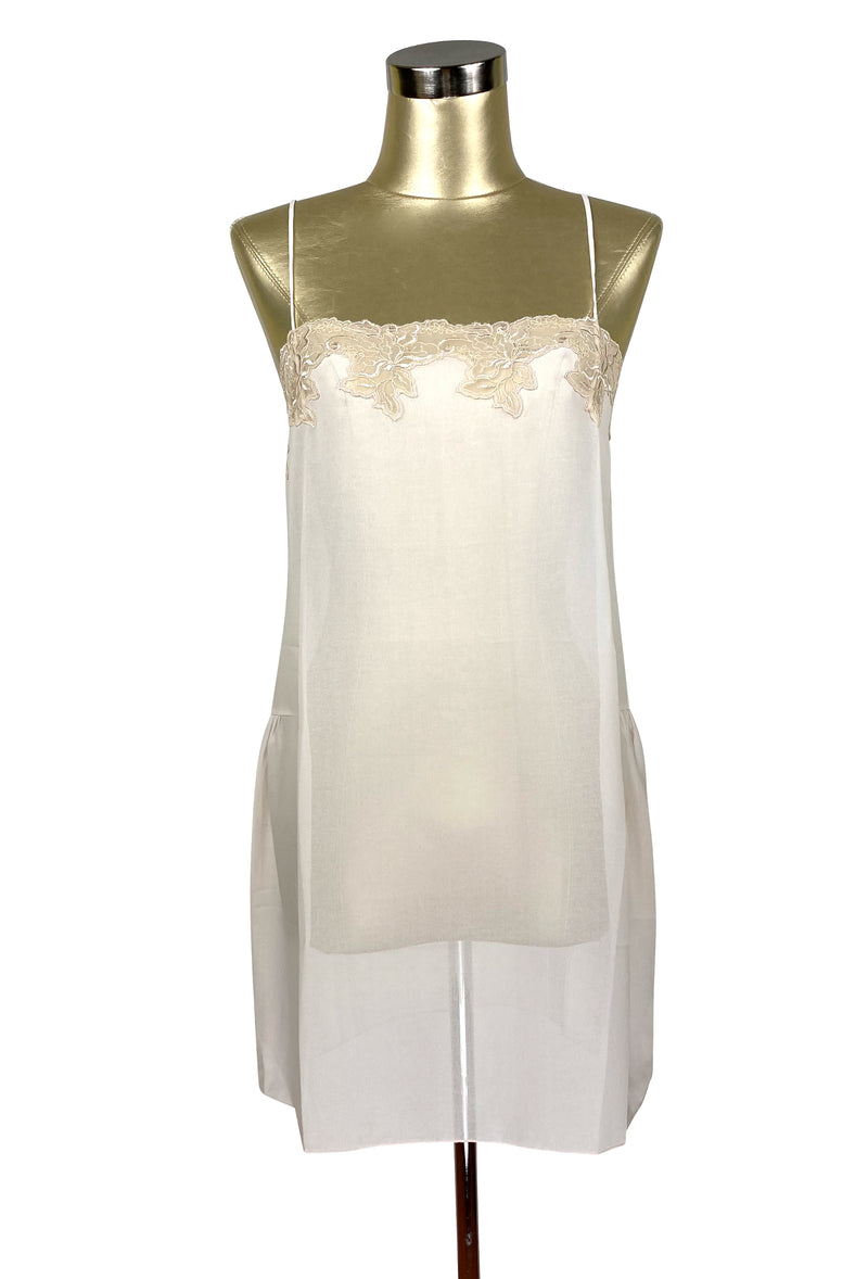 1920's Style 100% Silk Hand-Cut Lace Luxury Slip Dress - Vanilla Crème