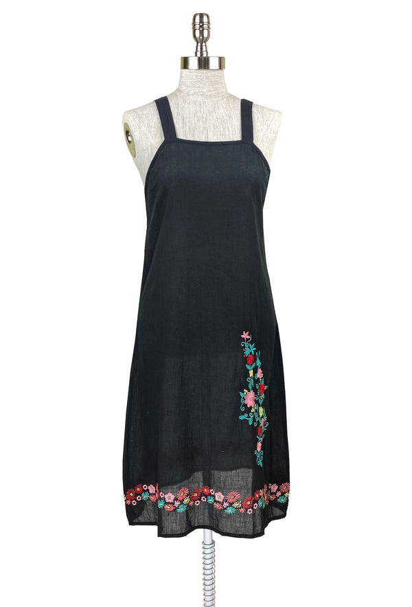 1920's Style Cotton Embroidered Zinnias Slip Day Dress - Black