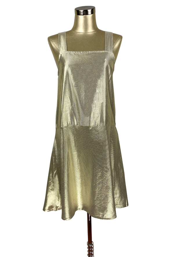 1920's Style Luxe Baby Doll Flapper Dropwaist Slip Dress - Gold Lamé