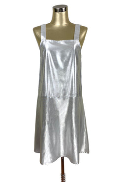 1920's Style Luxe Baby Doll Flapper Dropwaist Slip Dress - Silver Lamé