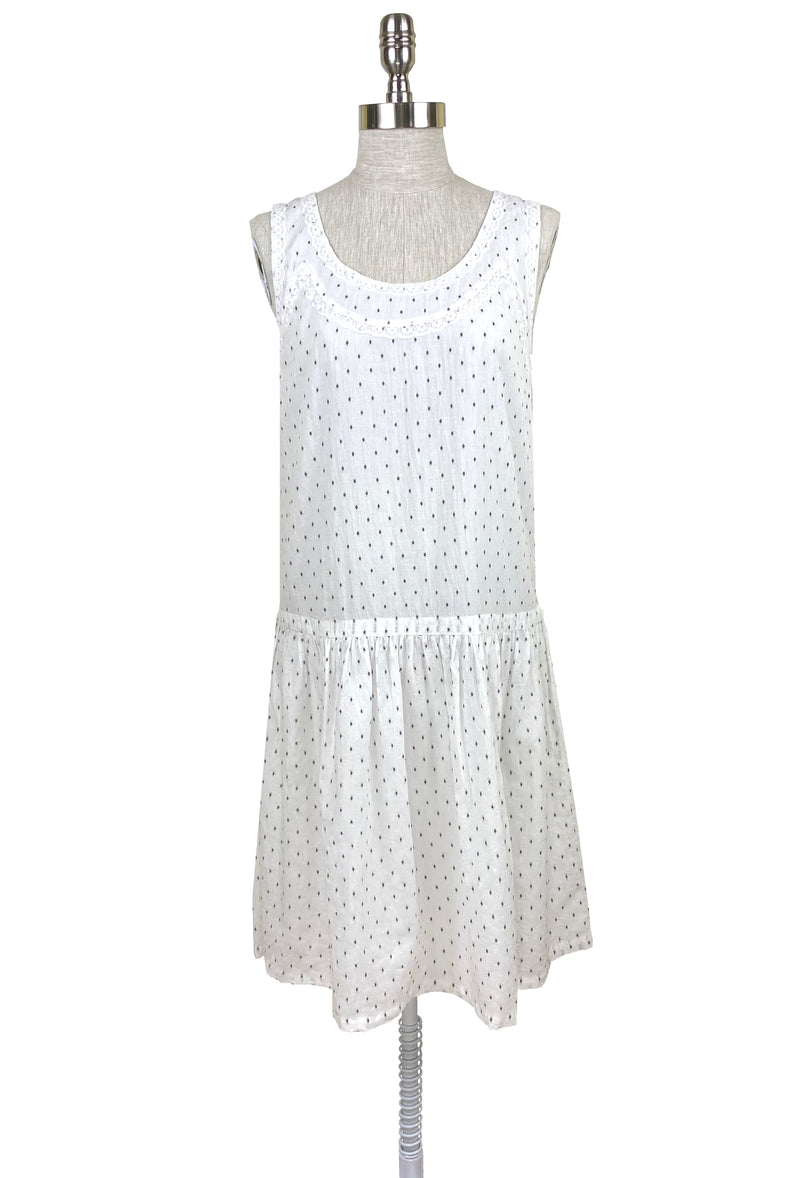 1920's Vintage Deco Dot Lace Dropwaist Dress - White