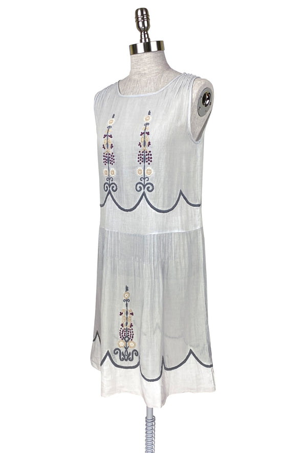 1920's Vintage Embroidered Gauze Charmante Dress - Blue