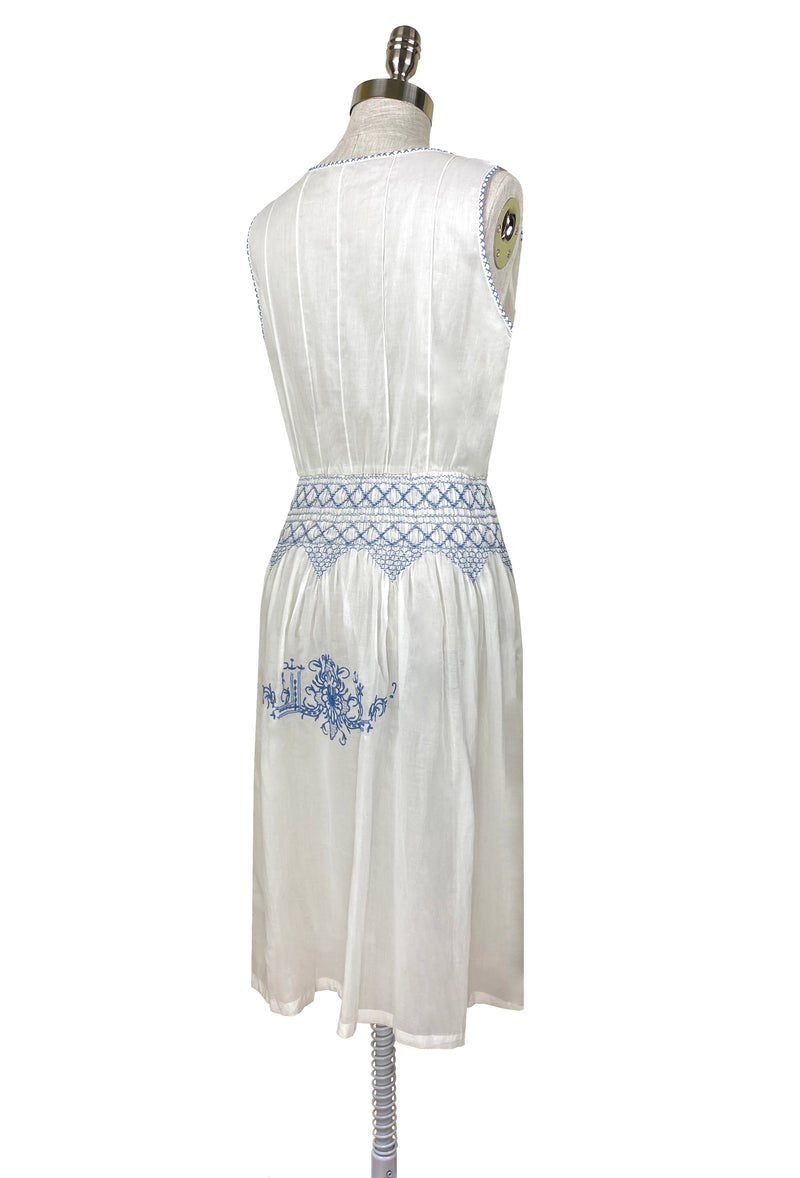 1920's Vintage Embroidered Silk Voile Provence Dress - French Blue