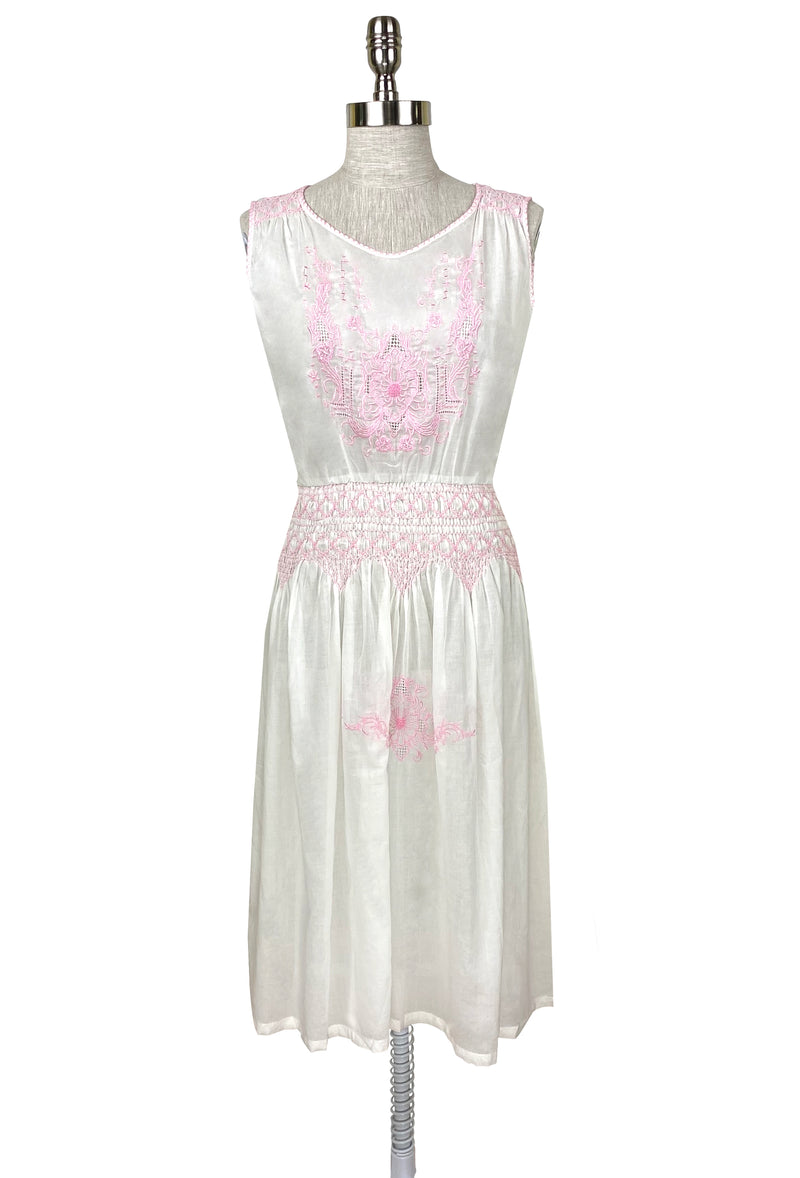 1920's Vintage Embroidered Silk Voile Provence Dress - Rouge Pink